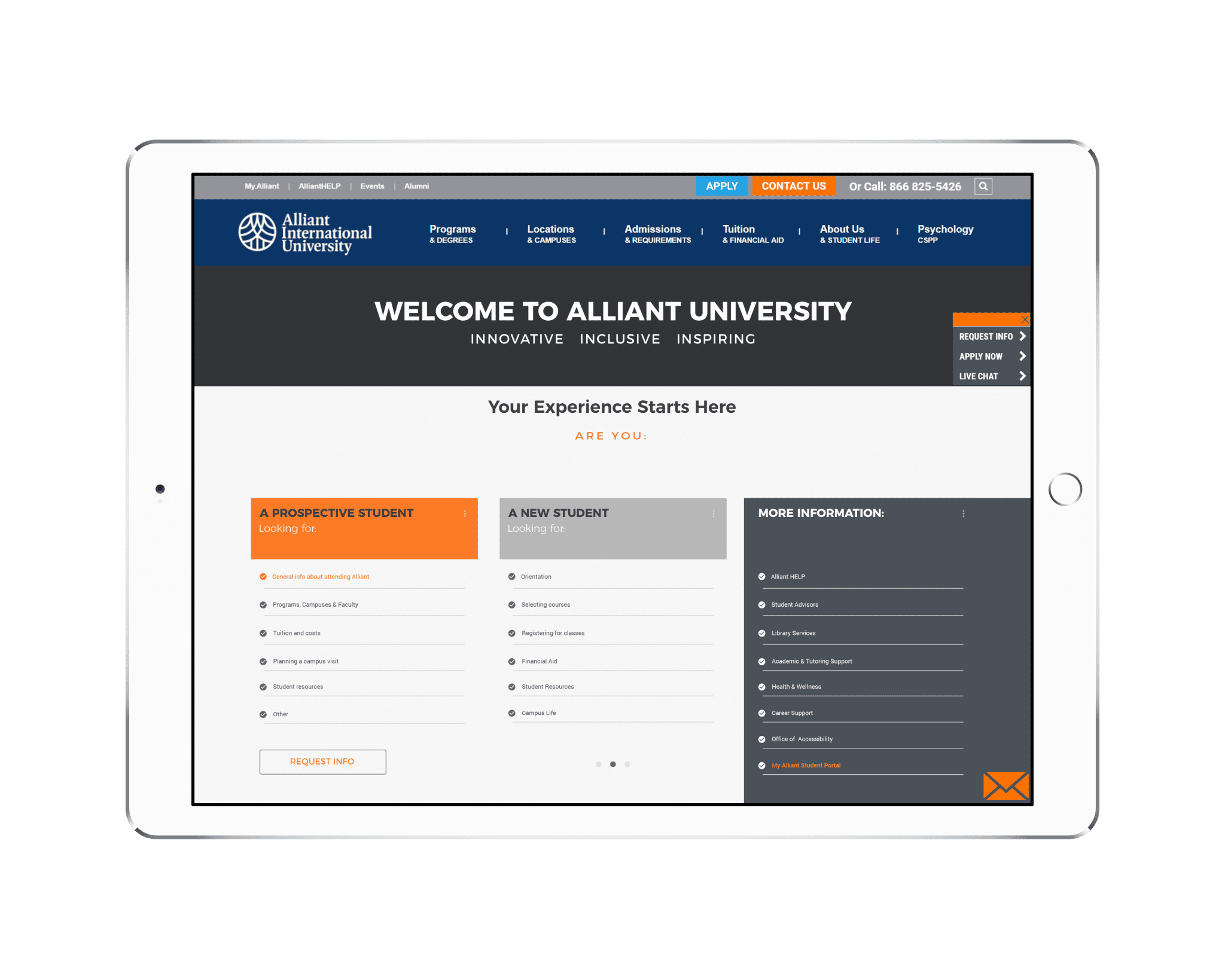 New Student Landing Page